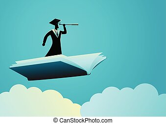 Man with toga using telescope on flying book