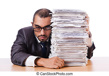 Man with too much work to do