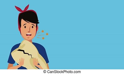 Man with tooh brokwn HD animation - Man holding tooth broken...