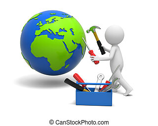Man with tool - A 3d man repairing the globe with hammer and...