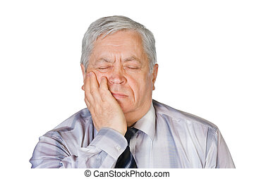 Man with toothache isolated on white background