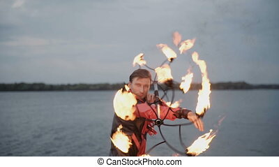 Man with torch fire show. slow motion - Man with torch fire...