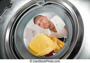 Man With Towel View From Inside The Washing Machine