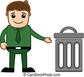 Man with Trash Bin Vector