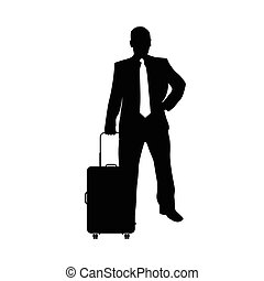 man with travel bag silhouette illustration in black