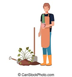 man with tree to plant avatar character