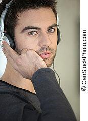 Man with trendy headphones