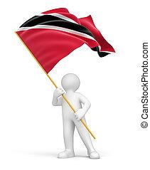 Man with Trinidad and Tobago flag - Man and Trinidad and...