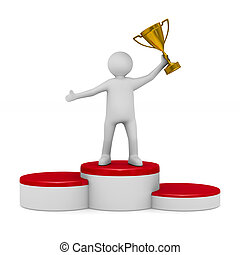 man with trophy cup on white background. Isolated 3D illustration