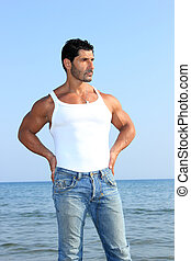 man with tshirt posing