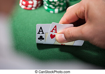 Man With Two Aces In Casino