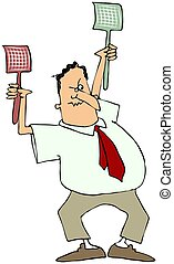 This illustration depicts an angry man with two plastic fly swatters.