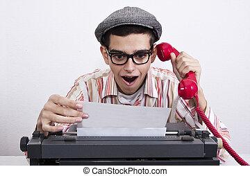 man with typewriter at work, business