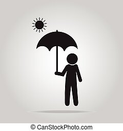 Man with umbrella on sunny day