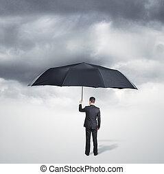 man with umbrella - man with big black umbrella