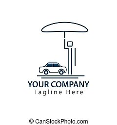 Man with umbrella protecting his car from hurricane, concept of car insurance