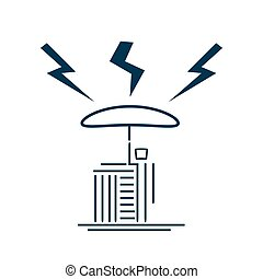 Man with umbrella protecting his house from lightning, concept of home insurance