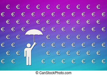 Man with umbrella standing in rain of euro, money concept