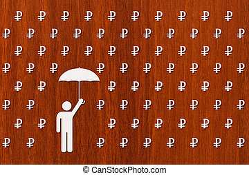 Man with umbrella standing in rain of rubles, money concept