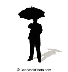 man with umbrella vector silhouette