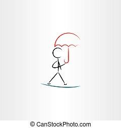 man with umbrella walking vector illustration icon