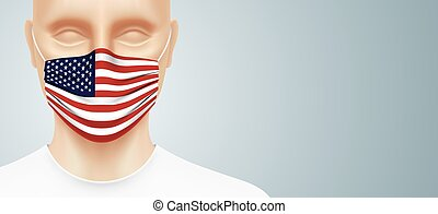 Man with USA flag face mask, standing on a gray gradient background. Closeup shot of a person, with a virus protection medical mask on his face. Patriotic healthcare banner vector design.