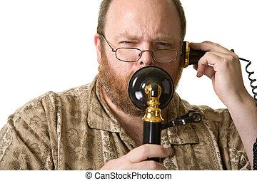 Man with vintage phone