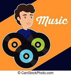 man with vinyl disks