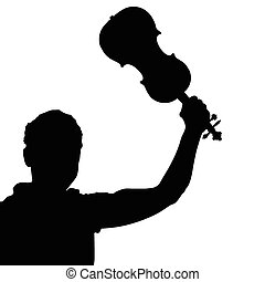 man with violin vector silhouette