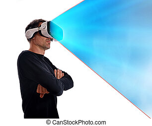 Serious man in black sweater with virtual reality glasses and arms crossed in lateral position and blue projection. Vertical composition. Isolated white