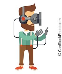 Man with virtual reality headset - A caucasian wearing a...