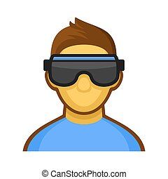 Man with Virtual Reality Headset Icon. Vector