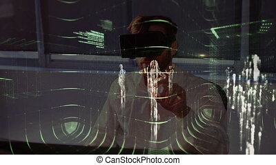 Man with virtual reality headset with data