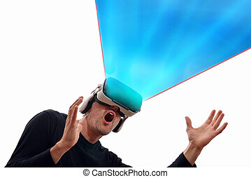 Surprised man with black pullover and virtual reality glasses with open hands looking up and blue projection. Horizontal composition. Isolated white