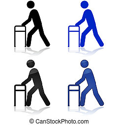 Man with walking aid - Icon illustration showing a person ...