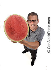man with watermelon on white background