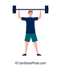 man with weight, heavy equipment, sport and leisure vector ...