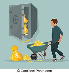 man with wheelbarrow full of coins and safe, vector illustration