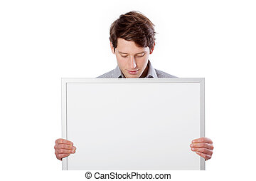 Man with white board to put your text here