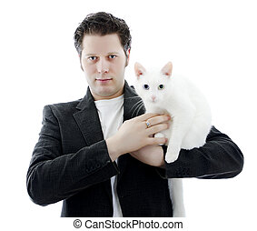 Man with white cat. Isolated on white.