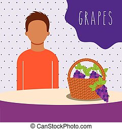 man with wicker basket filled fruit grapes