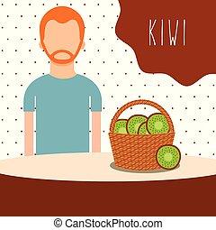 man with wicker basket filled fruit kiwi
