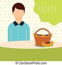 man with wicker basket filled fruit papaya
