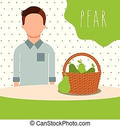 man with wicker basket filled fruit pear