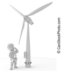 man with wind turbine