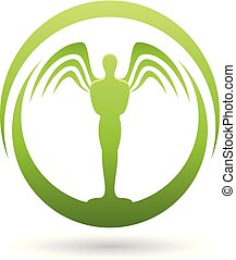 Man with Wings Green Icon Vector Illustration