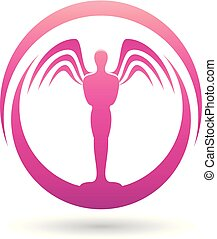 Man with Wings Magenta Icon Vector Illustration