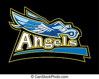 Man with wings on a motorcycle driving on the road. Vector illustration for biker club Angels
