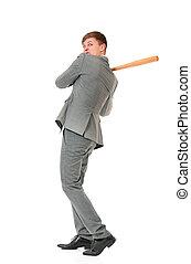 Man with wooden baseball bat