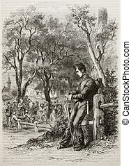 Man with wooden leg